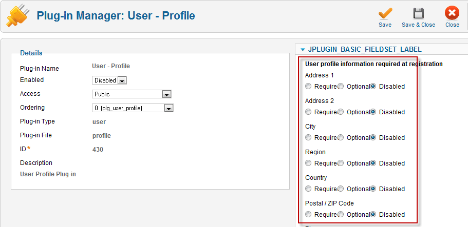 Plugin Manager User Profile joomla 1.6