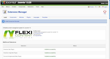 FLEXIConent Installation Screen