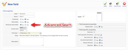 จะใช้ฟิลด์นี้สำหรับ Advanced Search หรือไม่