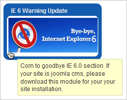 Extensions of the month! IE 6 Warning Update v1.5